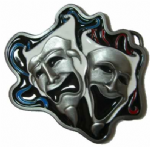 Comedy and Tragedy Masks Actors Thespian Drama Belt Buckle with display stand. Code AL5